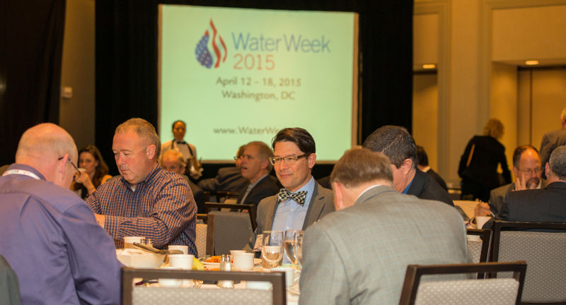 From left, WEF members Dax J. Blake, administrator in the City of Columbus, Ohio Division of Sewerage and Drainage, and Michael Mucha, chief engineer and director Madison (Wis.) Metropolitan Sewerage District, sit with other water sector professionals during the Forum. Photo courtesy of Max Taylor Photography.
