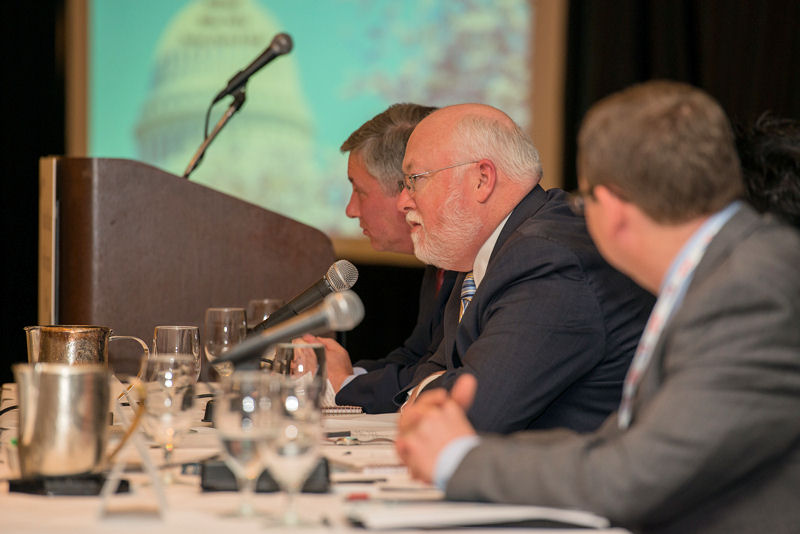 The 2015 National Water Policy Forum & Fly-In included featured speakers as well as panel discussions. From left, Adam Krantz, director of Government and Public Affairs for the National Association of Clean Water Agencies, and Water Environment Federation (WEF; Alexandria, Va.) Governement Affairs staff Tim Williams, senior director and Steve Dye, contractor, discuss advocacy priorities for the event. Photo courtesy of Max Taylor Photography (Washington, D.C.).