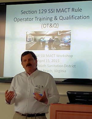 Mark Feltner, environmental scientist at HRSD (Virginia Beach, Va.), provides a review of Virginia operator training and qualification requirements during a WEFMAX meeting. WEF photo/Lisa McFadden.