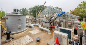 The beginning of the treatment system includes a primary screen, moving bed bioreactor (MBBR) hatches, as well as an odor control system housed in a grey tank. Photo courtesy of Fisher, Emory University.