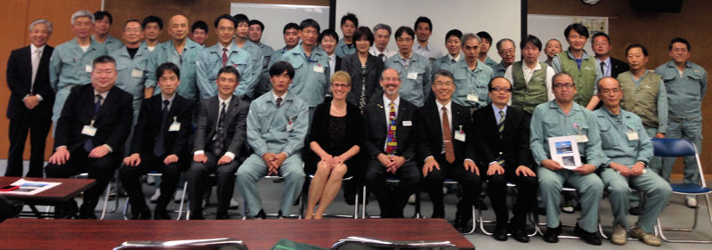Front row, fifth from left, Ed McCormick, WEF President 2014–2015, sits with staff of the City of Kobe, Japan water resource recovery facility. Photo courtesy of McCormick and the Japan Sewage Works Association.