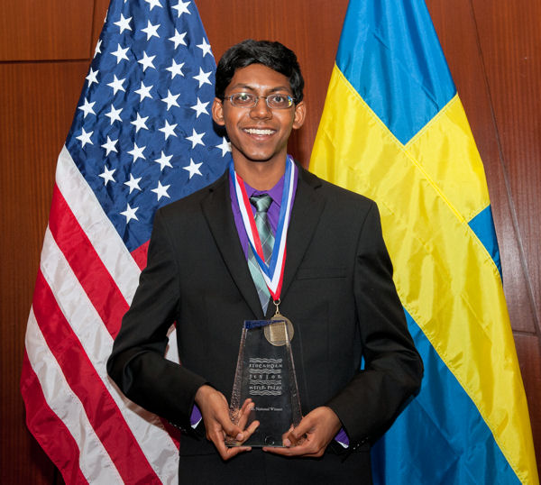 Alagappan won for developing a renewable filter that removes heavy metals from water. Photo courtesy of AOB Photo.