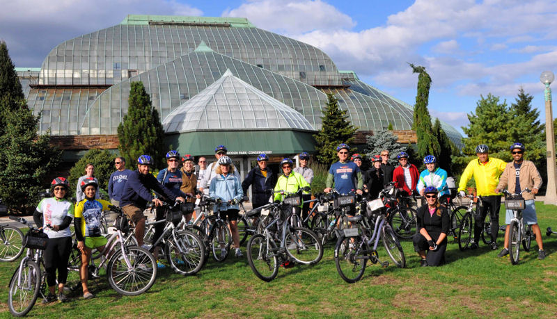 WEFTEC attendees who rode bicycles in the Ride with a Purpose fundraiser at WEFTEC 2013 get to see Chicago landmarks such as the Lincoln Park Conservatory. Photo courtesy of De Kock.