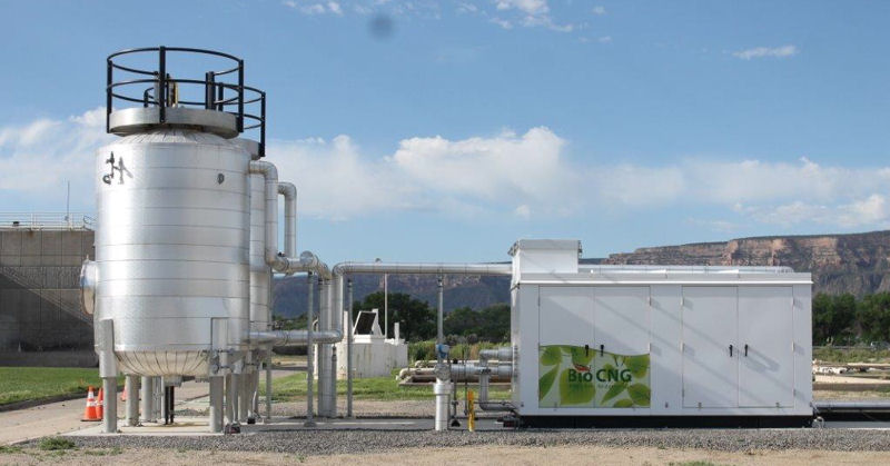 Rather than flaring methane, digester gas at the Persigo facility enters conditioning equipment, which removes hydrogen sulfide, siloxanes, and carbon dioxide and then compresses the gas. Photo courtesy of City of Grand Junction, Colo.