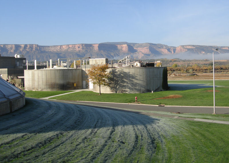 Methane from these anaerobic digesters at the Persigo Wastewater Treatment Plant in Grand Junction, Colo., is converted into compressed biogas and used to fuel the city's fleet of natural-gas-powered vehicles. Photo courtesy of City of Grand Junction.