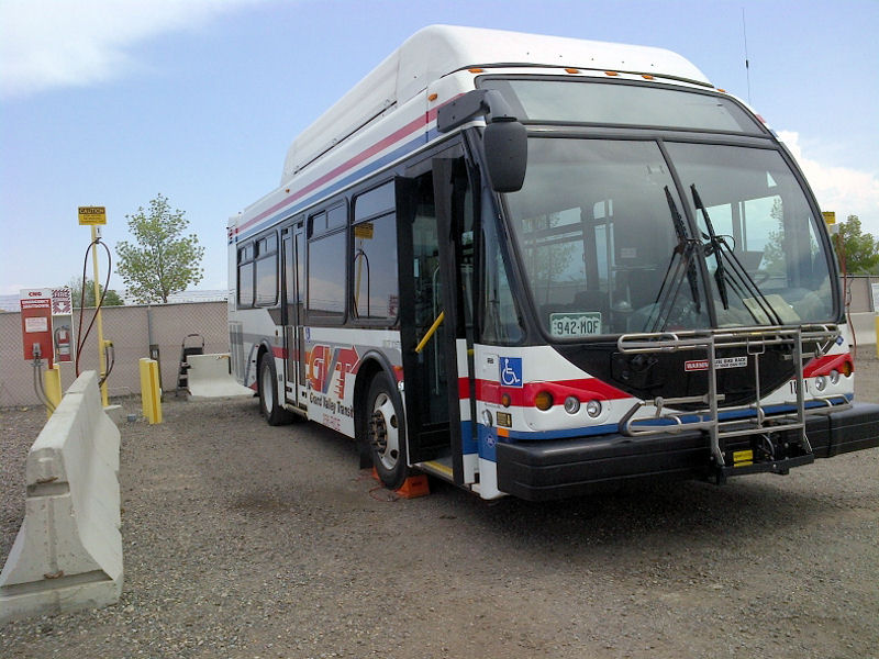A bus operated by the local transit agency receives biogas at the fueling site constructed by the City of Grand Junction, Colo. Photo courtesy of City of Grand Junction.