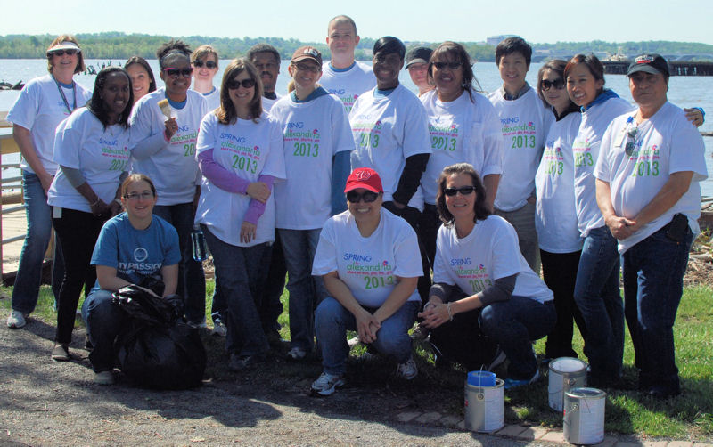 On May 3, 2013, 25 WEF staff members participated in the Spring for Alexandria Community Service Day event to celebrate Earth Day. From left, the 2013 volunteers were; back row, Jeanne Leggett, Jennifer Chavira, Rebecca Arvin, Eric Neal, Jeff Frederick, Britt Sheinbaum, (middle row) Blaine Menelik, Arika Lawrence, Mary Ann Linder, Lauren Henretty, Tangela Williams, Theresa Mixon, Woo Jun, Joan Huang, Grace Hulse, Moises Rodriguez, (front row) Kristina Twigg, Christine Radke, Renee Kayal, (not pictured) Jennifer Fulcher, Marissa Adawag, Sarah Evans, Jessica Rozek, Andy Decker, and Melissa Rose.