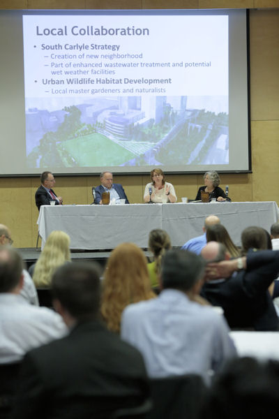 Water sector leaders talk during a panel at the Great Water Cities Summit. Photo courtesy of Dave Aleman.