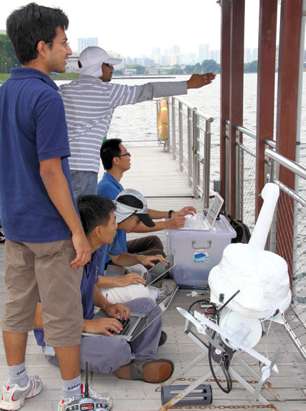 Before the introduction of the three robotic swans to the Pandan Reservoir, research teams were collecting water quality data manually. Now data is uploaded to the cloud using Wi-Fi and the NUSwans can be operated manually or automatically. Photo courtesy of NUS Environmental Research Institute.