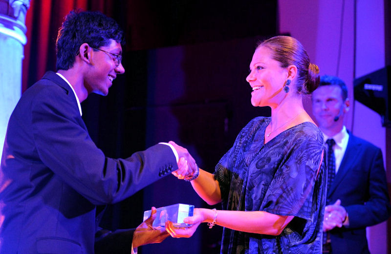 Perry Alagappan, who was the U.S. contestant, receives the 2015 International Stockholm Junior Water Prize (SJWP) from the Crown Princess Victoria of Sweden during World Water Week. Photo courtesy of Jonas Borg, Stockholm International Water Institute.