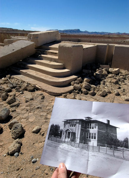 The foundation of the St. Thomas School House, which once looked like the black and white photo, sat underwater for many years after Lake Mead filled. Due to declining water levels, the town has remained uncovered since 2002. Photo courtesy of Lake Mead National Recreation Area.