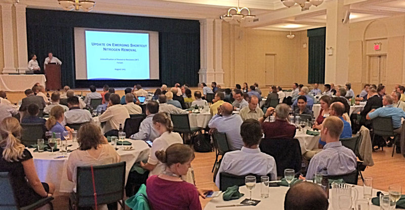 Water sector professionals attending the 2015 Intensification of Resource Recovery (IRR) Forum attendees gather to hear an update on emerging shortcuts to nitrogen removal. Water Environment Federation (Alexandria, Va.) photo/Laura Herman.