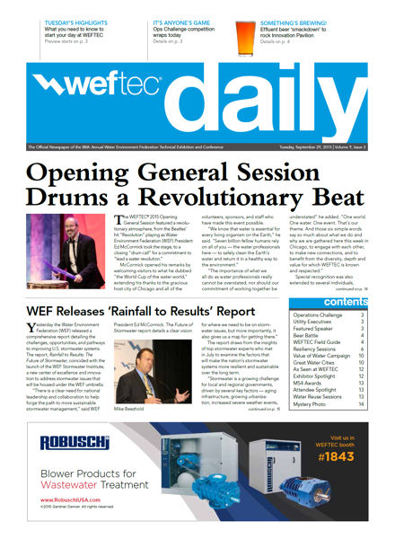 Click to see the Sept. 29 issue of the WEFTEC 2015 Daily.
