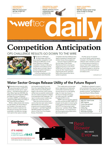 Click to see the Sept. 30 issue of the WEFTEC 2015 Daily.