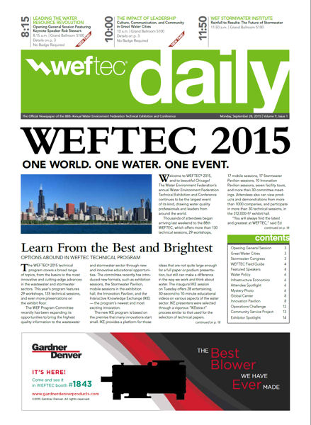 Click to see the Sept. 28 issue of the WEFTEC 2015 Daily.