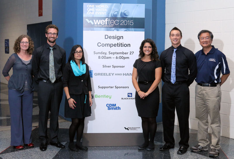 The North Dakota State University (Fargo) team placed first in the student design competition's environmental design category. From left, past WEF Board of Trustee member Erin Mosley stands with team members Kellen Grubb, Luisa Torres, Anna Cunningham, Dain Synhorst, and faculty advisor, Wei Lin. Photo courtesy of Oscar & Associates.