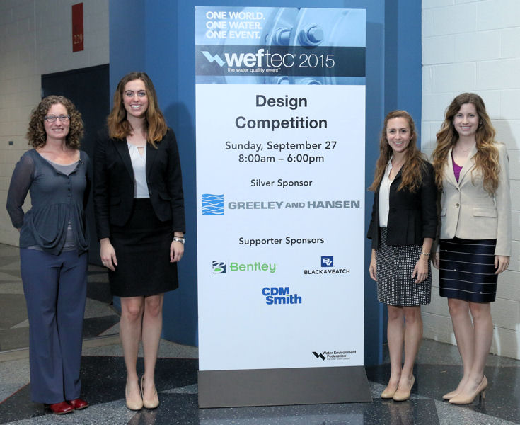 The Southern Methodist University (Dallas) team placed first in the student design competition's wastewater design category. From left, past WEF Board of Trustee member Erin Mosley stands with team members Kaylee Dusek, Abigail Klaus, and Allison Leopold. Julie Ellis (not pictured) was the team sponsor. Photo courtesy of Oscar & Associates.