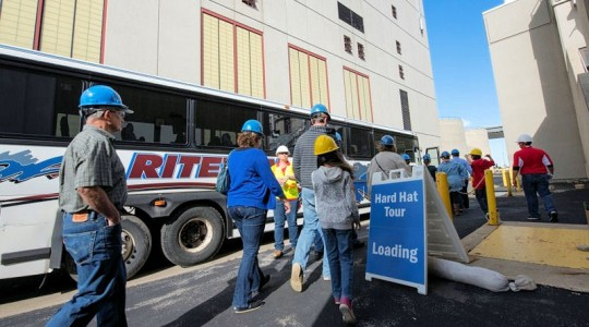 Visitors toured the Jones Island Water Reclamation Facility on a bus as part of Doors Open Milwaukee. The annual event has experienced double-digit growth since its inaugural year in 2011. Photo courtesy of Veolia.