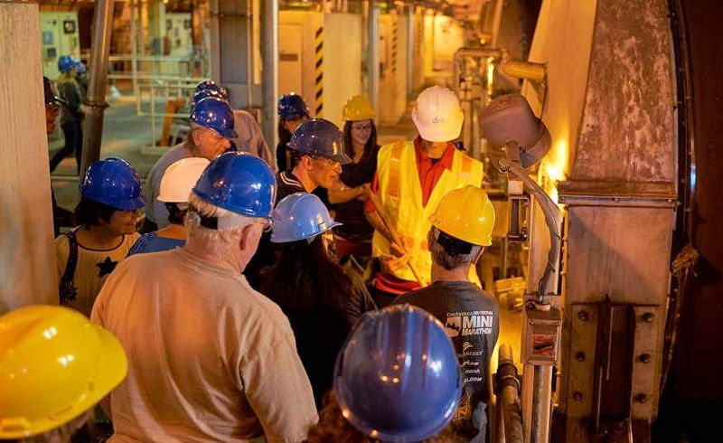 As part of the hard hat tour conducted by Veolia and local volunteers, visitors were able to view the process of making Milorganite, fertilizer produced as a by-product of the wastewater treatment. Photo courtesy of Veolia