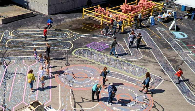 Before boarding busses, Doors Open visitors walked the artist-created Wastewater Maze, which provided an up-close view of the wastewater treatment process. Photo courtesy of Veolia.
