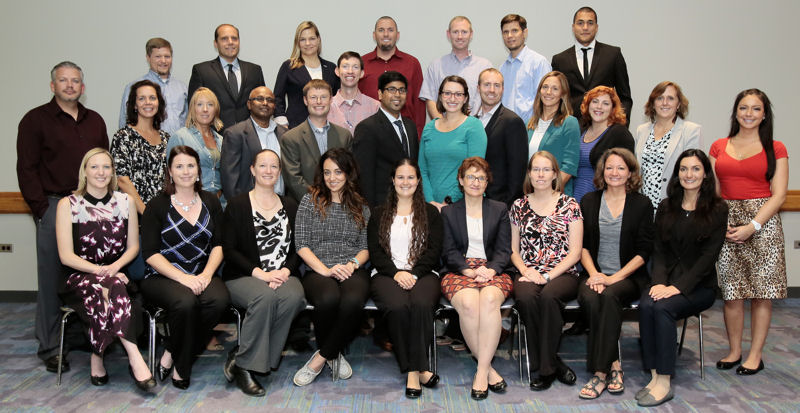 The 2015 Water Leadership Institute graduates and mentors include, front row from left, Jennifer Minton, Chandra Baker, Laura Porter, Sarah Courtright, Rebecca Holgate, Angie Price, Andrea Long, Amanda Spalding, and Cristina Ahmadpour; middle row from left, Jeff Skinner, Renee Kayal, Brandy Nussbaurm, J. Anthony Aruldoss, Nathan Davis, Nitin Katiyar, Sarah Lothman, Adam Link, Lauren Roth Venu, Fulcher, Laurie Brenner, and Marisa Tricas; back row from left Mark McKinney, Rob Bernardi, Cara Wilson, David Hatch, Kody Tompkins, Jeremy Lynn, John Palenchar, and Pierre Cayatte; and not pictured, Shannon Lambert, Joshua Mahan, Laurlei McVey, Lora Reed, William Rodriguez, Michael Roth, and Michael Simpson. Photo courtesy of Oscar & Associates.