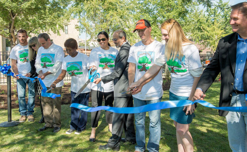 WEF leaders joined project organizers and leaders to cut a ribbon celebrating the opening of the garden. They included Michael Quamme from WEF SYPC, Karen Kubick from San Francisco Public Utilities Commission, Jonathan Fine from Chicago Public Schools, Safurat Giwa from Chicago Public Schools, Mariyana Spyropoulos from the Metropolitan Water Reclamation District of Greater Chicago, Ed McCormick from WEF, Tim Moran from WEF SYPC, Haley Falconer from WEF SYPC, and David St. Pierre from the Metropolitan Water Reclamation District of Greater Chicago. Photo courtesy of the Metropolitan Water Reclamation District of Greater Chicago.