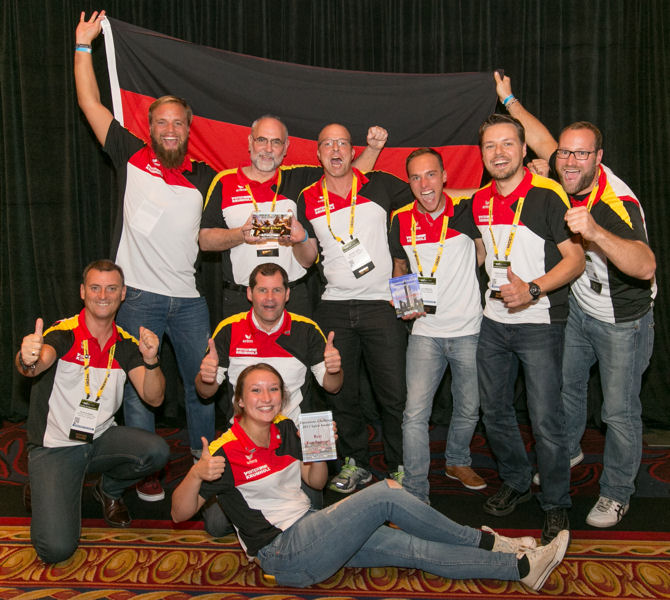The two German teams celebrate receiving Operations Challenge spirit awards. Team Düsseldorf won the awards for Team Congeniality and Best Fan Support and the All Star Team won the spirit award for Team with Best Effort. Photo courtesy of Oscar & Associates.