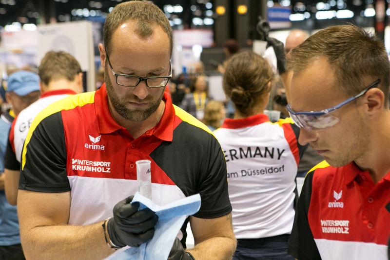Two Operations Challenge teams from Germany competed WEFTEC 2015. Members of DWA Team Düsseldorf work together during the Laboratory event. Photo courtesy of Kieffer Photography.