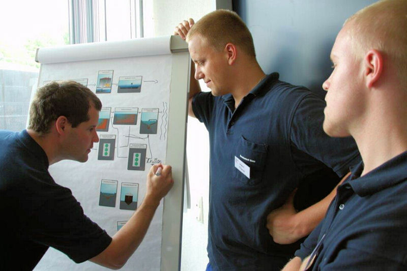 Wastewater professionals work on the German Operations Challenge Process Event by using magnets to make a flow chart of the treatment process. Photo courtesy of Rüdiger Heidebrecht.