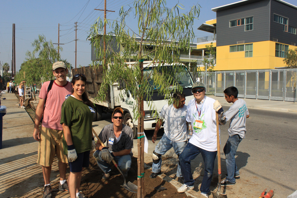 "Volunteers plant trees during the WEFTEC 2011 service project, ""Walkway to Wetlands."" Photo courtesy of Falconer."