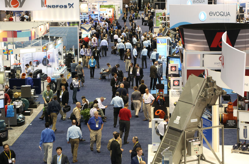 A total of 1033 companies used 28,948 m<sup>2</sup> (311,600 net ft<sup>2</sup>) of space in the WEFTEC 2015 exhibition. Photo courtesy of Oscar & Associates.