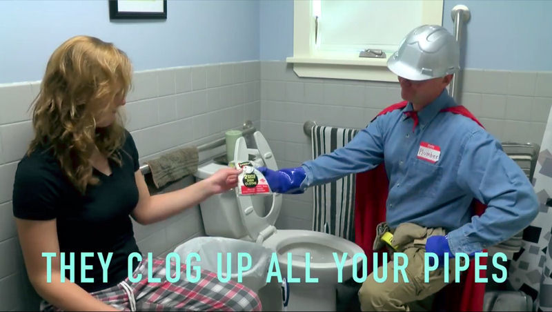 The City of Keene, N.H., worked with high school students to create a music video advising against flushing wipes; rags; towels; fats, oils, and grease; and other items that can clog pipes. Photo courtesy of the Cheshire Career Center TV and Film program at Keene (N.H.) High School.