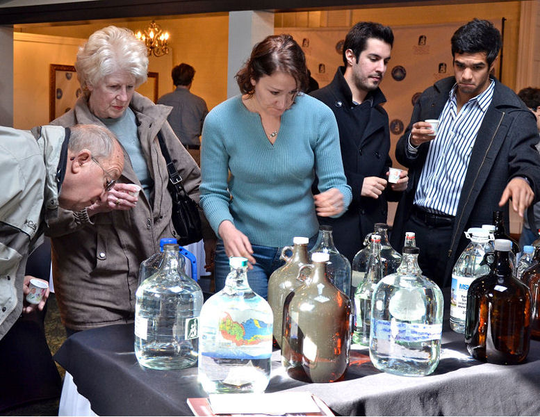 Members of the public can attend the Berkeley Springs International Water Tasting event and taste water alongside judges but have no vote. Photo courtesy of Travel Berkeley Springs.