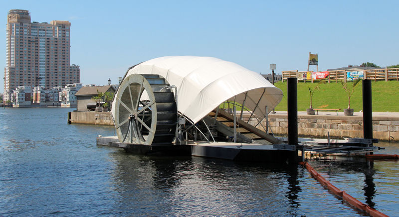 The Inner Harbor Water Wheel, also known as Mr. Trash Wheel, removes trash and debris from the Jones Falls River in Baltimore. Photo courtesy of the Waterfront Partnership of Baltimore.