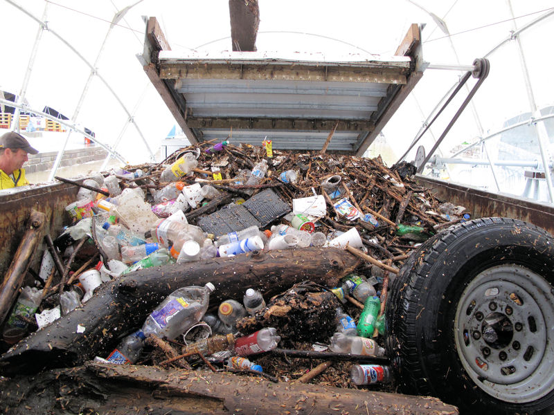 Since it began operating on May 9, 2014, Mr. Trash Wheel has collected 321 Mg (354 tons) of garbage. Photo courtesy of the Waterfront Partnership of Baltimore.
