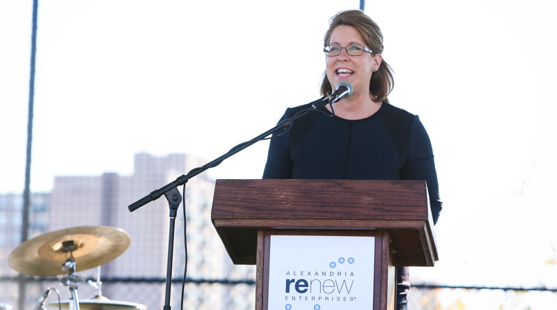 In her opening remarks at the ribbon-cutting ceremony on Oct. 23, Alexandria Renew Enterprises CEO Karen Pallansch discussed how the Nutrient Management Facility and field embody the organization's core values: innovation, being a good neighbor, problem solving, and transforming local waterways. Photo courtesy of Erin Rexroth, Erin J. Photography.