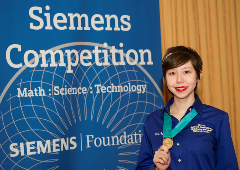 Maria Elena Grimmett, competitor in the 2015 national Stockholm Junior Water Prize (SJWP) competition, received the $100,000 grand prize in the 2015 Siemens Competition in Math, Science, & Technology. Photo courtesy of Elena Olivo, Siemens Foundation (Munich).