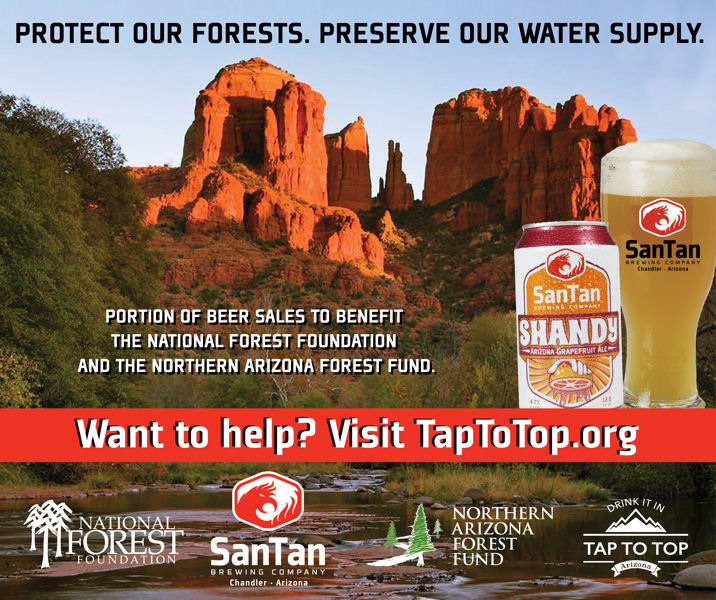 SanTan Brewing Co. (Phoenix), Crescent Crown Distributing (Mesa, Ariz.), and the National Forest Foundation are working through the Tap to Top campaign to increase public awareness about the source and importance of clean water. Photo courtesy of the National Forest Foundation.