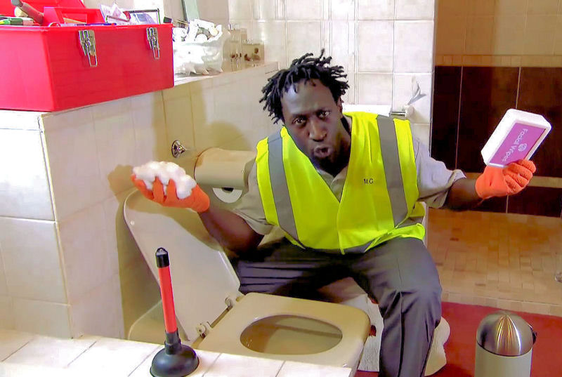 "MC Plumber raps in the ""Can't Flush This"" music video to educate about items that can clog toilets. Photo courtesy of United Utilities (Warrington, England)."