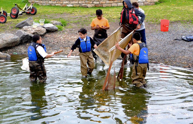 Students from the South Bronx are exposed to the ecological diversity of the Bronx River and participate in hands-on activities that include water quality monitoring and restoration projects. Photo courtesy of Rocking the Boat.