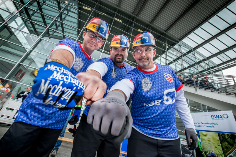 In May, a team of four WEFTEC Operations Challenge veterans — Dale Burrow, Steve Motley, Donnie Cagle, and Dave Vogel (not pictured) — traveled to Munich, Germany to compete in the Open German Championship in Wastewater Technology. Photo courtesy of KSB.