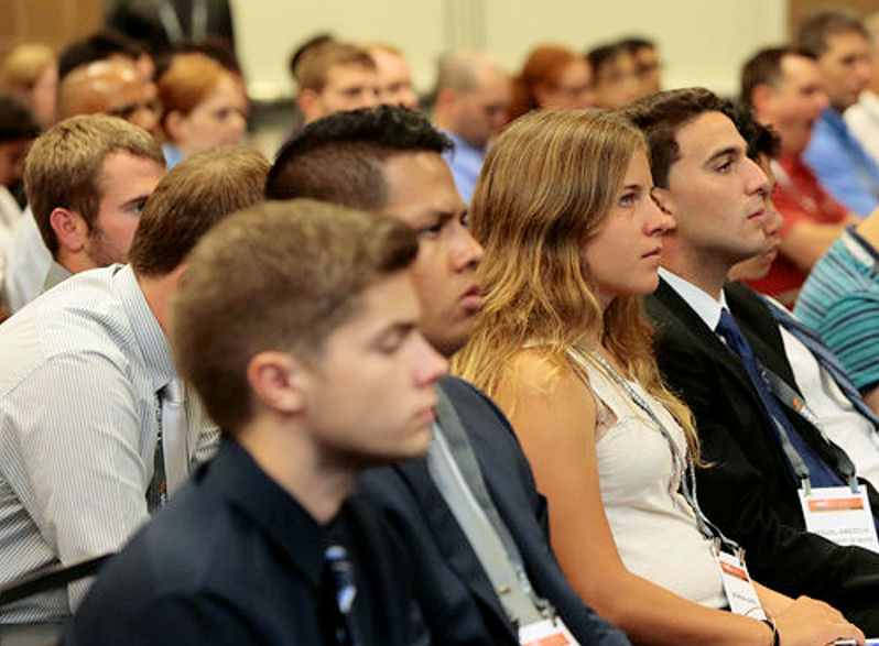 During WEFTEC 2015, the audience listens to teams present their projects for the Wastewater Design Competition and Water Environment Design Competition. Photo courtesy of Oscar & Associates.