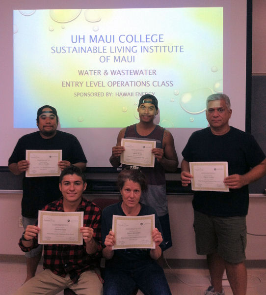 Students who earned certificates for competing spring 2016 semester of the Sustainable Living Institue of Maui training program were, front row from left, Landon Eason, Dawn Alexander, back row from left, Melvin Hippolito, Derek Brown, Darryl Lindsey, and not pictured Seth Lokken. Photo courtesy of the Steve Parabicoli, University of Hawaiʻi Maui College.