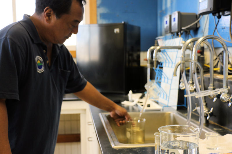 Employees from the County of Maui's Department of Water Supply including Marvin Ignacio, Water Treatment Plant manager, have supported the program and provided tours for spring 2016 class. Photo courtesy of the University of Hawaiʻi Maui College.