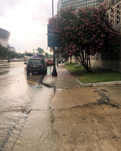 This year's project will help capture stormwater that's overflowing from a parking garage and onto the sidewalk and street at City Hall. Photo courtesy of Antrup, New Orleans City Planning Commission.