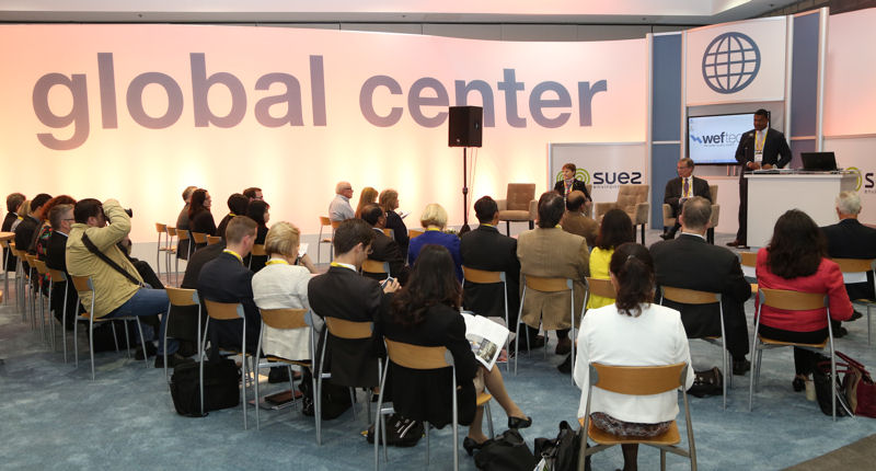 Attendees listen to water sector leaders give presentations in the Global Center located in the WEF Plaza at WEFTEC. Photo courtesy of Oscar & Associates.