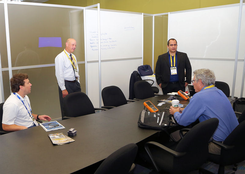 WEFTEC 2015 attendees hold a meeting in the Huddle Room. Photo courtesy of Oscar & Associates.