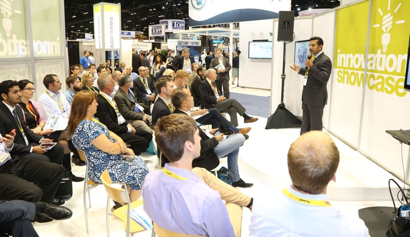 WEFTEC 2015 attendees gather to hear an educational presentation in the Innovation Pavilion. Photo courtesy of Oscar & Associates.