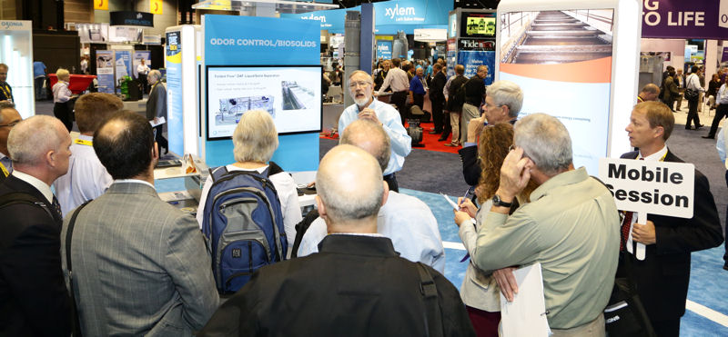 WEFTEC attendees can learn about a variety of topics in mobile sessions that take participants to different stops in the exhibition. Photo courtesy of Oscar & Associates.