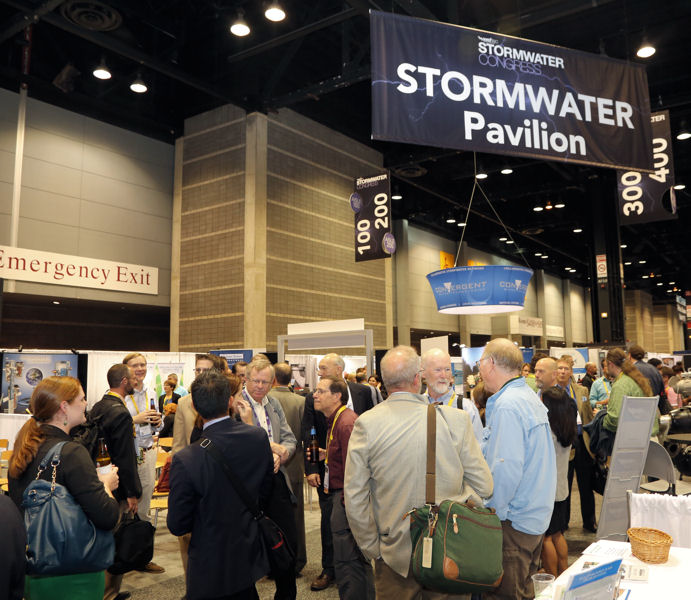 Water sector professionals gather at a networking reception in the Stormwater Pavilion at WEFTEC 2015. Photo courtesy of Oscar & Associates.